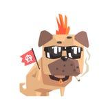 Панковский маленький щенок собаки мопса любимчика при воротник куря и держа иллюстрацию шаржа Emoji флага анархии Стоковая Фотография RF