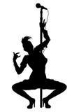 Панковский силуэт стриптиза девушки музыканта Стоковое Изображение RF