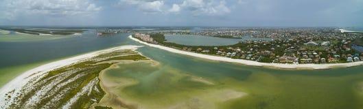 Панорама антенны пляжа Tigertail острова Marco Стоковые Фото