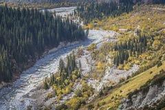Панорама ландшафта горы ущелья алы-Archa в сумме Стоковые Фото