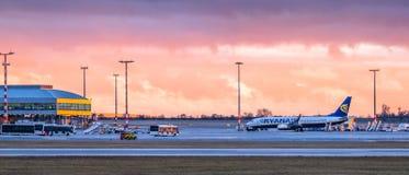 Панорама аэропорта Праги стоковое изображение