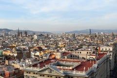 Панорама Барселоны, Испания, точка зрения, Европа стоковое изображение rf