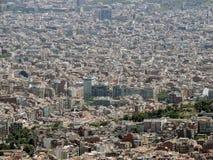 Панорама Барселоны от горы Tibidabo Стоковые Фото