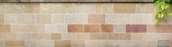 Панорама бежев-коричневой каменной стены Стоковые Фото