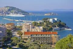 Панорама береговой линии Kusadasi в Турции стоковое фото