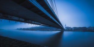 Панорама Братиславы с мостом стоковое изображение rf