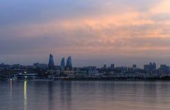 Панорама бульвара взморья в Баку Азербайджане Стоковая Фотография