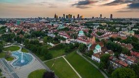 Панорама Варшавы сверху стоковые изображения