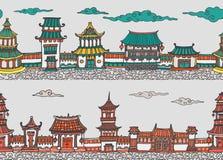 Панорама 2 векторов безшовная китайского или японского старого городка Стоковые Изображения