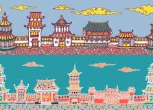 Панорама 2 векторов безшовная китайского или японского старого городка Стоковое Изображение RF