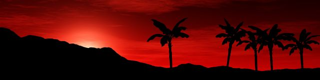 Панорама взгляда захода солнца горы восхода солнца над горами, свет над горами, Стоковые Фотографии RF
