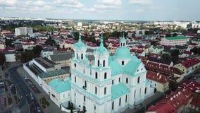 Панорама вида на город от антенны трутня сток-видео