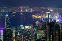 Панорама вида с воздуха ночи горизонта Гонконга Стоковая Фотография