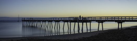 Панорама восхода солнца молы Торки, залив Hervey, QLD Стоковое Фото