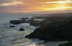 Панорама восхода солнца от пляжа Guadamia стоковое фото