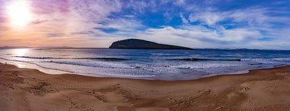 Панорама восхода солнца пляжа Стоковая Фотография RF
