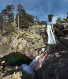 Панорама водопада Radule в острове Корсики с 2 бассейнами Стоковая Фотография
