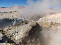 Панорама воды горячего источника горы Чили Боливии гейзера Стоковые Фотографии RF