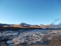 Панорама воды горячего источника горы Чили Боливии гейзера Стоковое Фото