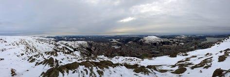 Панорама выделяя красоту ` s Бергена во время зимы стоковая фотография