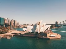 Панорама гавани и оперного театра Сиднея Стоковое фото RF
