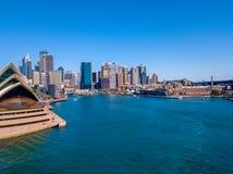 Панорама гавани и оперного театра Сиднея Стоковое Изображение