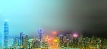 Панорама Гонконга и финансового района Стоковое Изображение RF
