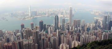 Панорама Гонконга от зазора Виктории, около верхней части Victori Стоковые Изображения