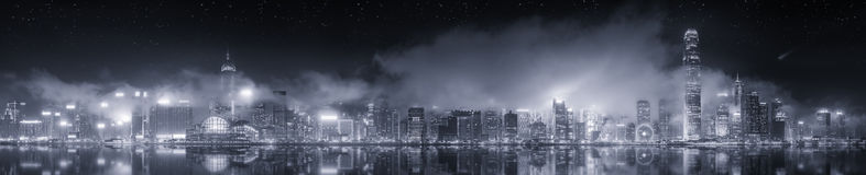 Панорама Гонконга, черно-белая стоковое фото