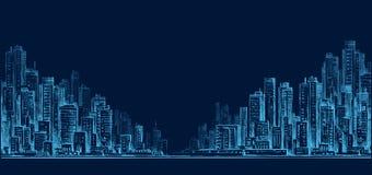 Панорама горизонта города на ноче, руке нарисованный городской пейзаж, рисуя иллюстрация архитектуры бесплатная иллюстрация