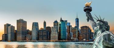 Панорама горизонта Нью-Йорка Стоковое Изображение RF