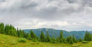 Панорама горной цепи в прикарпатских горах Стоковое Изображение