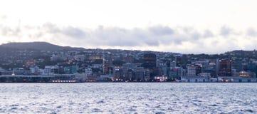 Панорама города восхода солнца Веллингтона Новой Зеландии стоковые изображения rf