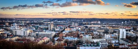 Панорама города Каунаса Стоковые Фото