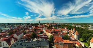 Панорама городка Таллина старого, Эстонии Стоковые Фотографии RF