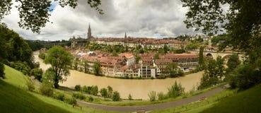 Панорама городка Bern старого столица Швейцарии, Стоковая Фотография RF