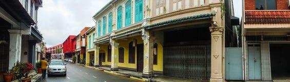 Панорама городского пейзажа китайско-португальской архитектуры в Melaka стоковая фотография
