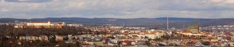 Панорама города Брна, исторического центра, южной Моравии, чехии Стоковые Изображения