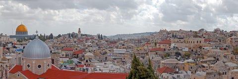 Панорама - крыши старого города, Иерусалима Стоковые Изображения RF