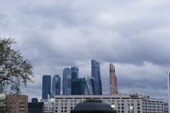 Панорама города Москвы от реки Москвы Стоковая Фотография