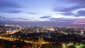 Панорама города ночи Алма-Ата, Казахстан Время сток-видео