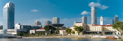 Панорама города около реки стоковое фото rf