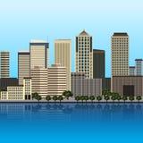 Панорама города с большими зданиями иллюстрация вектора