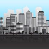 Панорама города с большими зданиями бесплатная иллюстрация