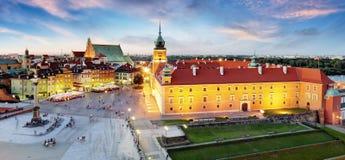 Панорама городка Варшавы старого, Польши стоковые изображения rf