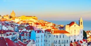 Панорама городка Лиссабона старая, Португалия Стоковое Изображение RF