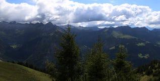 Панорама горы в горных вершинах с деревьями стоковые изображения rf