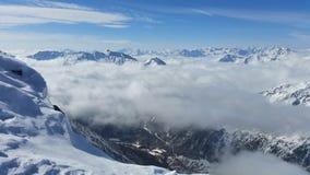 Панорама горы зимы стоковые изображения rf