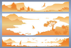Панорама горы с морем, чайкой и ветрилом Стоковое фото RF