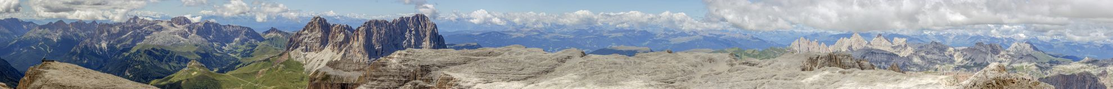 Панорама горы Sella от Piz Boe Стоковая Фотография RF